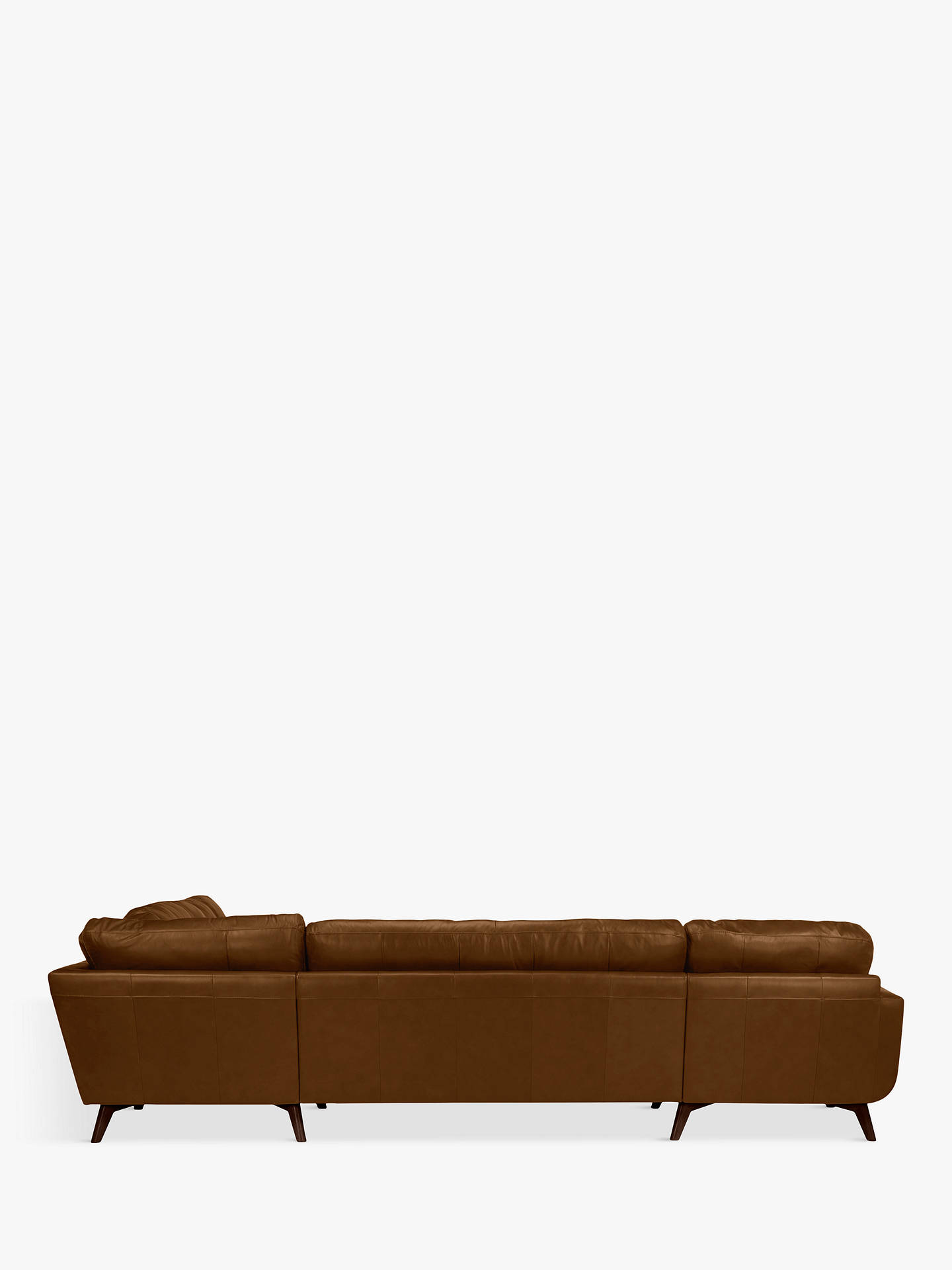 Buy John Lewis & Partners Barbican Leather LHF Grand Corner Chaise End Sofa, Dark Leg, Demetra Light Tan Online at johnlewis.com