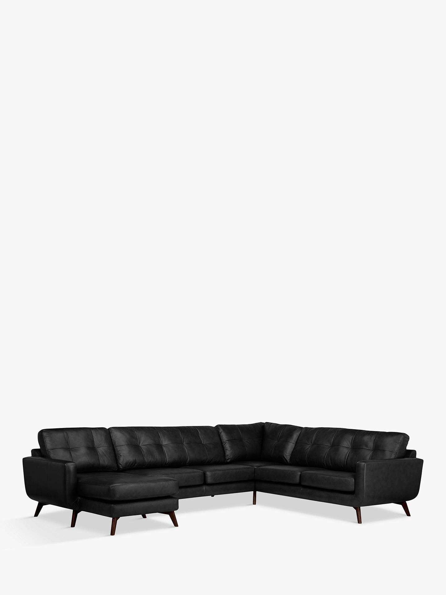Buy John Lewis & Partners Barbican Leather LHF Grand Corner Chaise End Sofa, Dark Leg, Contempo Black Online at johnlewis.com