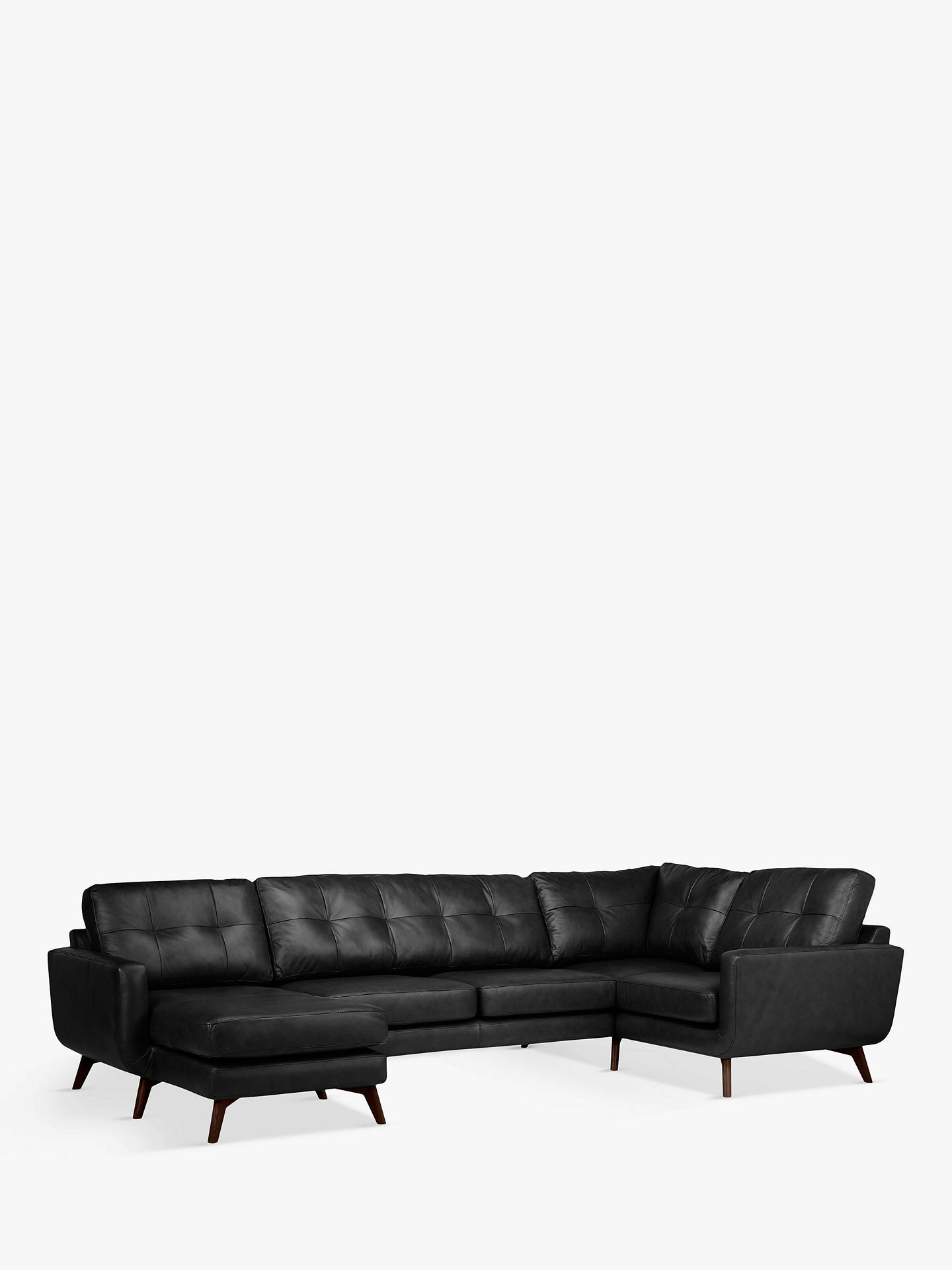 Buy John Lewis & Partners Barbican Leather LHF Medium Corner Chaise End Sofa, Dark Leg, Contempo Black Online at johnlewis.com