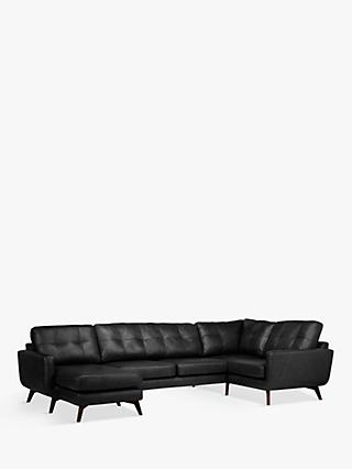 John Lewis & Partners Barbican Leather LHF Medium Corner Chaise End Sofa, Dark Leg