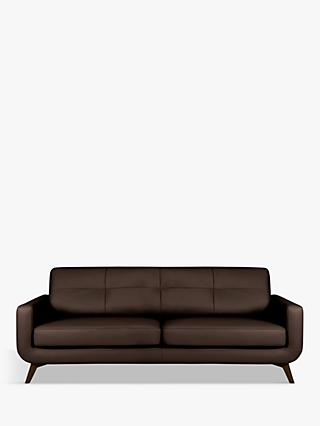 John Lewis & Partners Barbican Grand 4 Seater Leather Sofa, Dark Leg