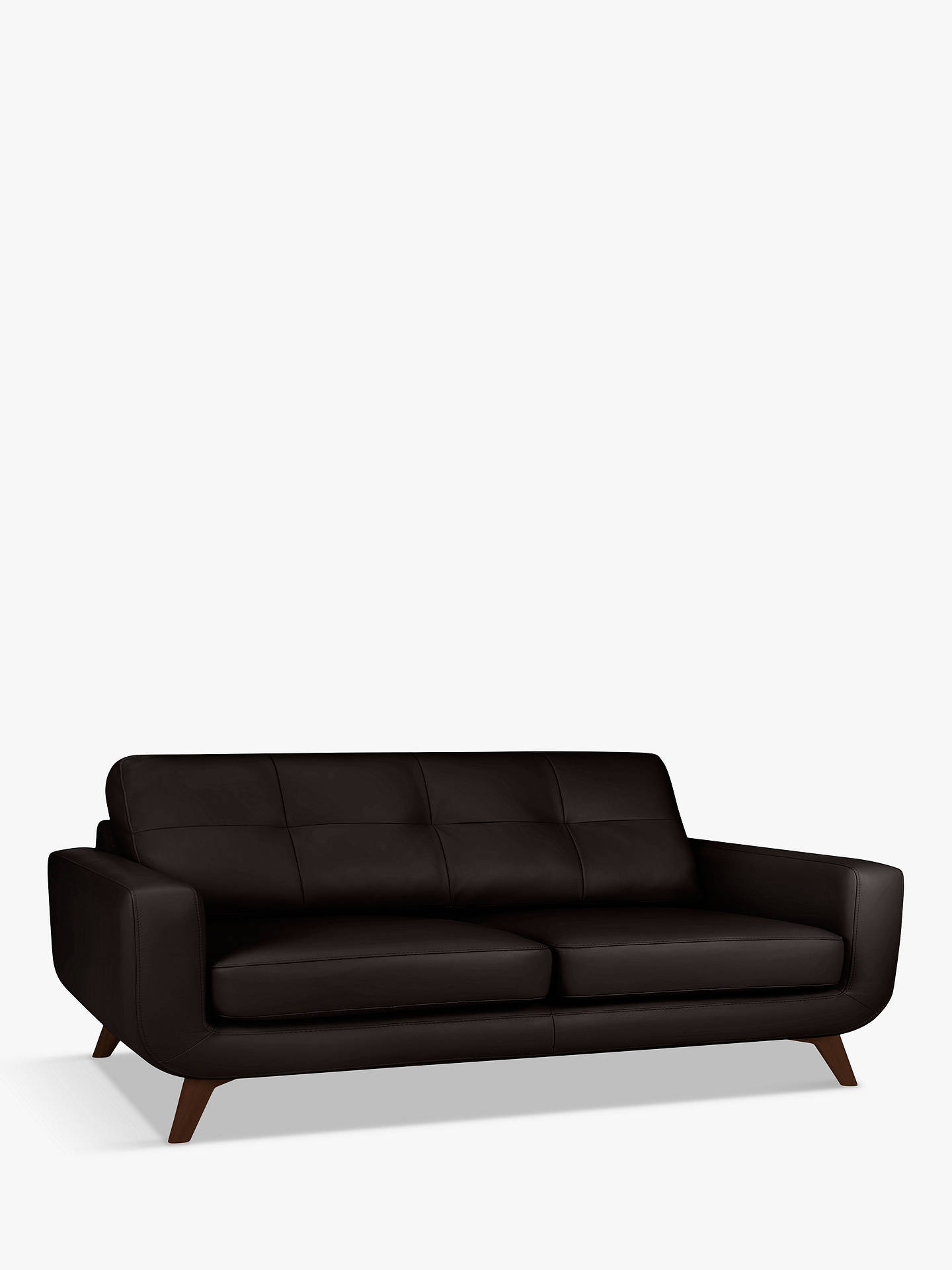 Buy John Lewis & Partners Barbican Grand 4 Seater Leather Sofa, Dark Leg, Demetra Charcoal Online at johnlewis.com