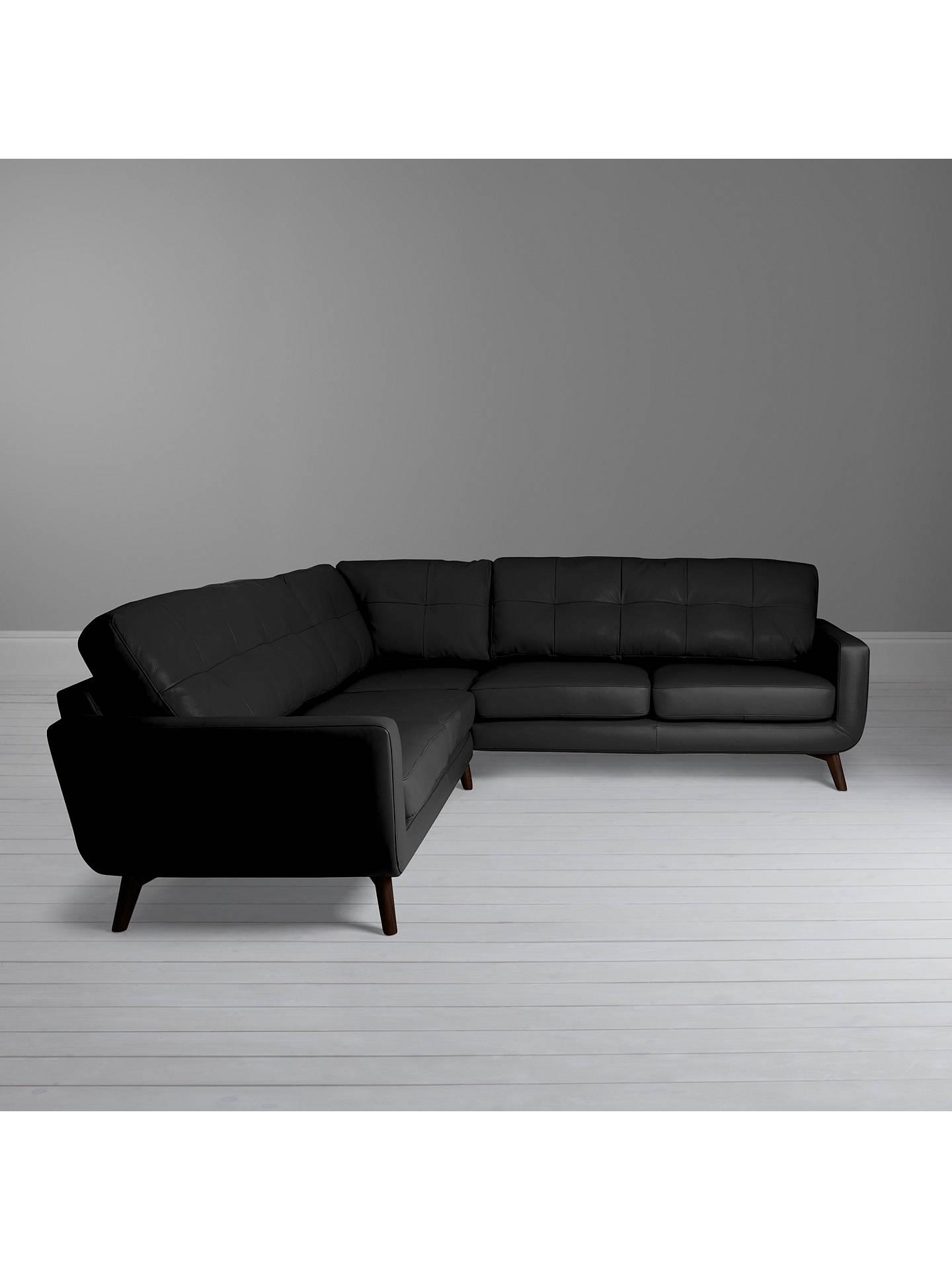 newest 44303 2114b John Lewis & Partners Barbican Leather Corner Sofa, Dark Leg, Contempo Black