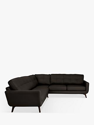 John Lewis & Partners Barbican Leather Corner Sofa, Dark Leg