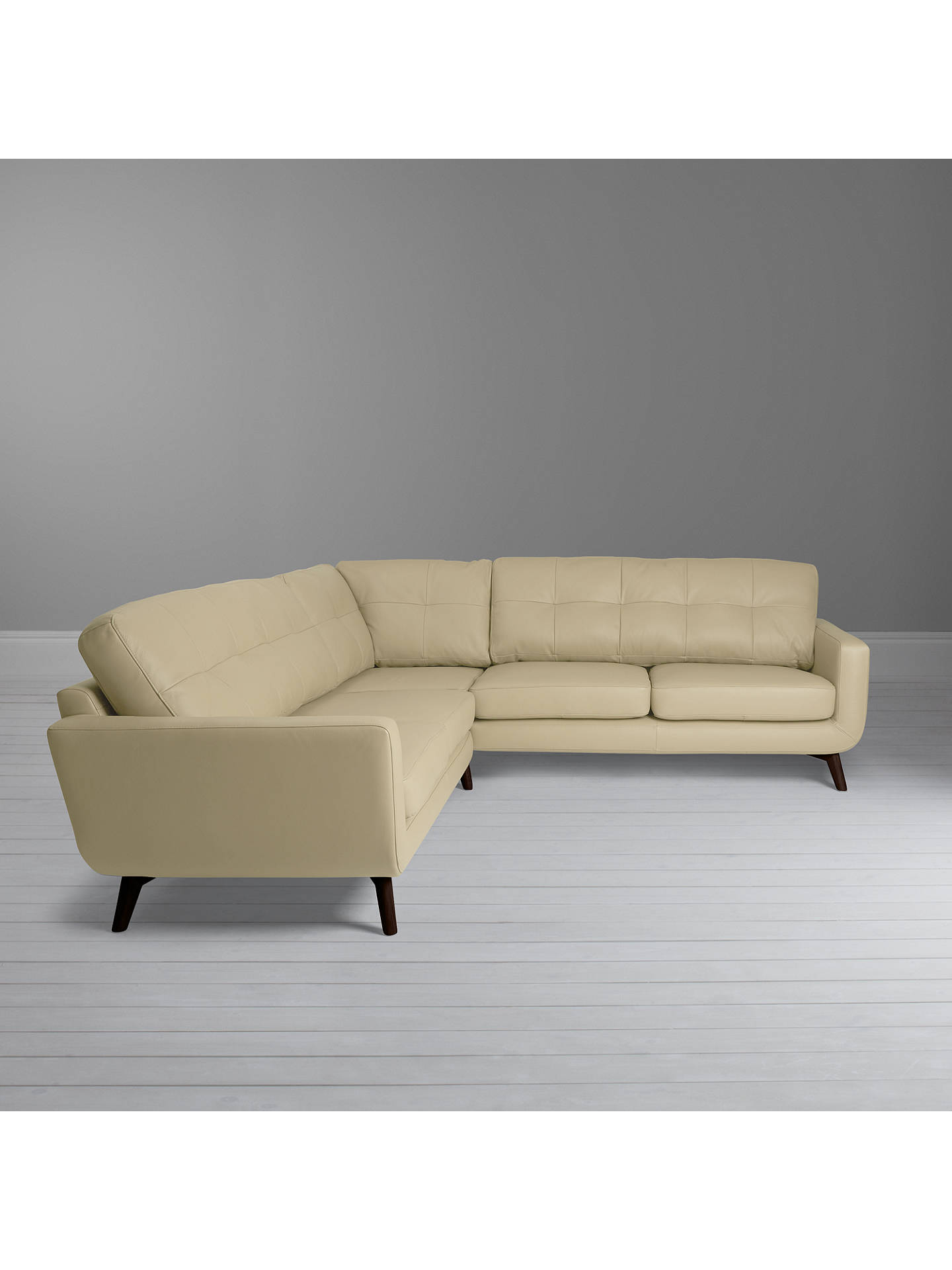 Buy John Lewis & Partners Barbican Leather Corner Sofa, Dark Leg, Nature Cream Online at johnlewis.com