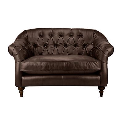 John Lewis Brompton Chesterfield Leather Snuggler, Dark Leg