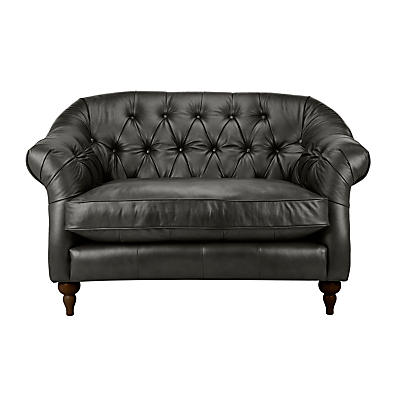 John Lewis Brompton Chesterfield Leather Snuggler, Dark Leg