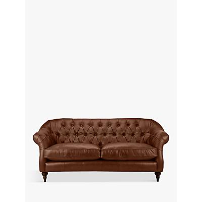 John Lewis Brompton Chesterfield Leather Large 3 Seater Sofa, Dark Leg