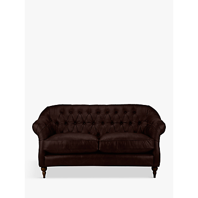 John Lewis Brompton Leather Medium 2 Seater Sofa, Dark Leg