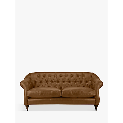 John Lewis Brompton Chesterfield Leather Large 3 Seater Sofa, Dark Leg