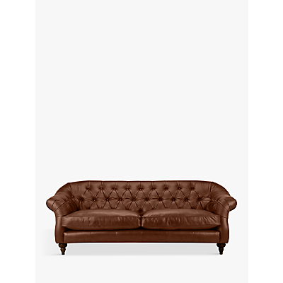 John Lewis Brompton Chesterfield Leather Grand 4 Seater Sofa, Dark Leg