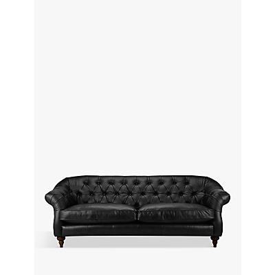 John Lewis Brompton Chesterfield Leather Grand 4 Seater Sofa, Dark Leg