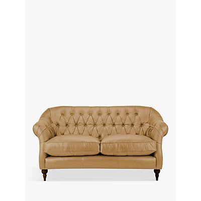 John Lewis Brompton Leather Medium 2 Seater Sofa, Dark Leg