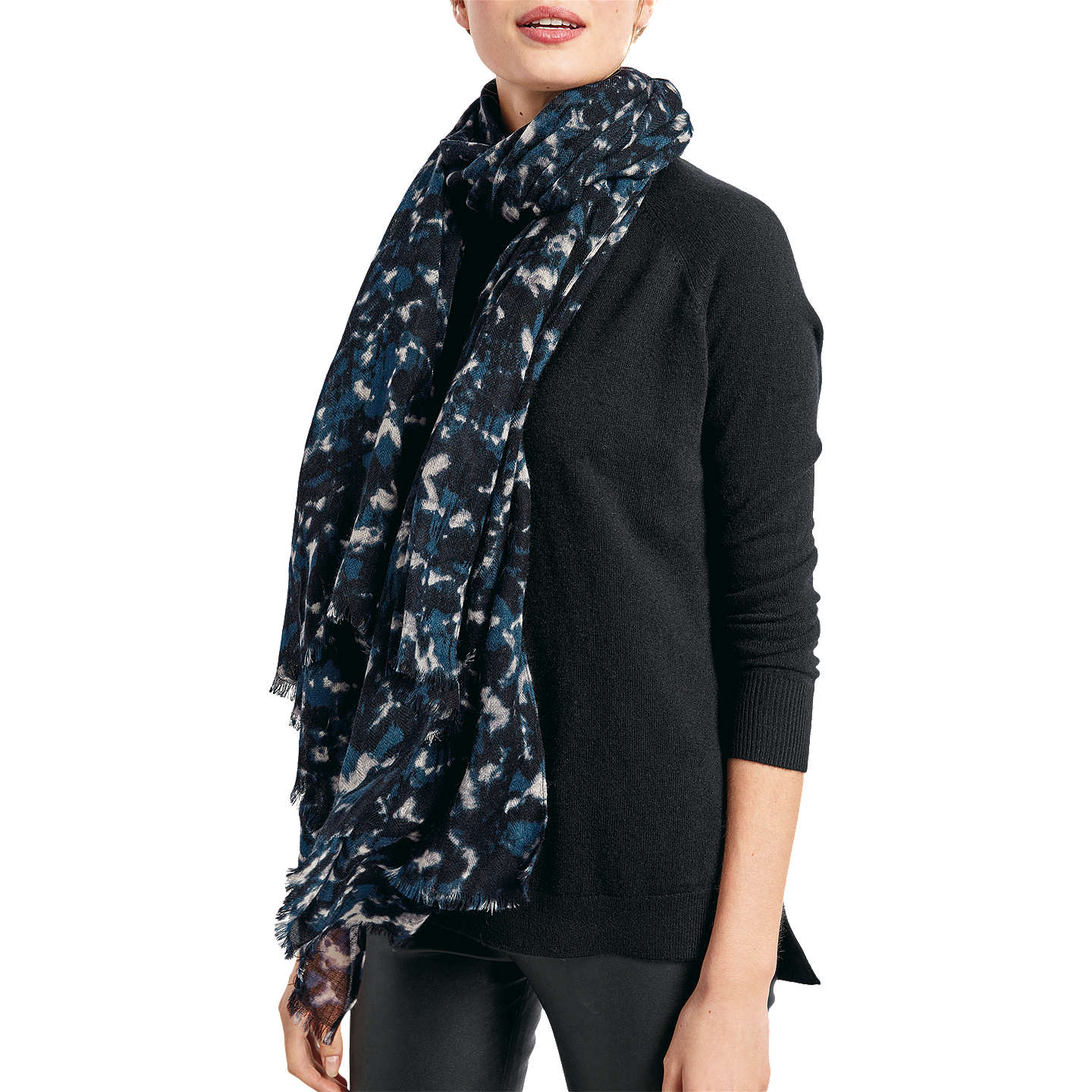 Buyhush Lola Scarf, Black/Blue Online at johnlewis.com