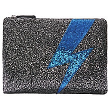 Buy hush Glitter Lightning Bolt Clutch Bag, Black/Blue Online at johnlewis.com