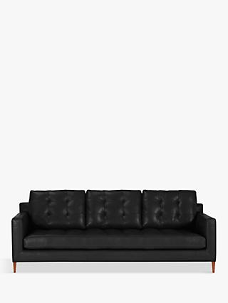 John Lewis & Partners Draper Leather Grand 4 Seater Sofa, Dark Leg