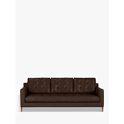 John Lewis Draper Leather Grand 4 Seater Sofa, Dark Leg