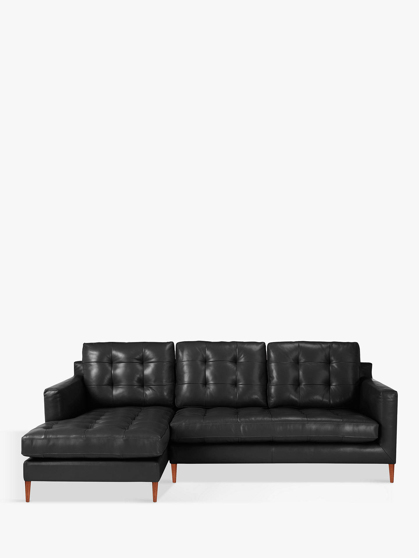 John Lewis & Partners Draper Leather LHF Chaise End Sofa, Dark Leg,  Contempo Black