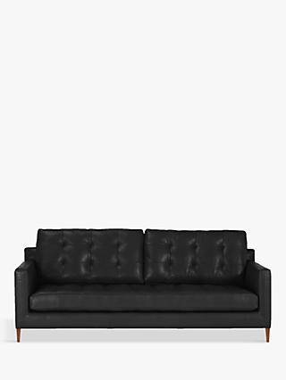 John Lewis & Partners Draper Leather Large 3 Seater Sofa, Dark Leg