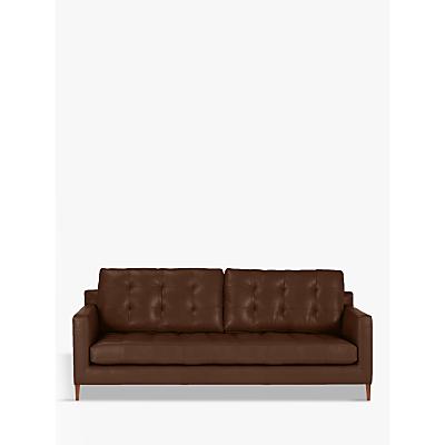John Lewis Draper Leather Large 3 Seater Sofa, Dark Leg