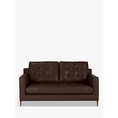 John Lewis Draper Leather Medium 2 Seater Sofa, Dark Leg