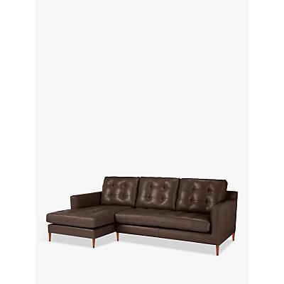 John Lewis & Partners Draper Leather LHF Chaise End Sofa, Dark Leg