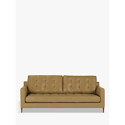 John Lewis Draper Leather Large 3 Seater Sofa, Dark Leg