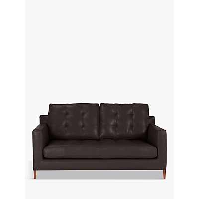 John Lewis Draper Leather Medium 2 Seater Sofa, Dark Leg