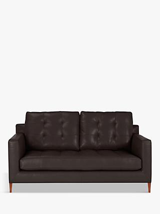 John Lewis & Partners Draper Leather Medium 2 Seater Sofa, Dark Leg