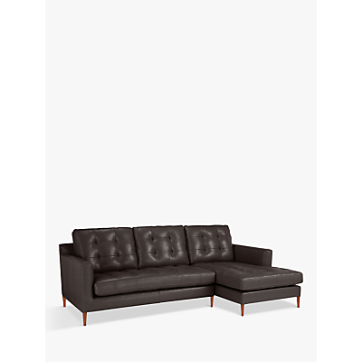 John Lewis & Partners Draper Leather RHF Chaise End Sofa, Dark Leg