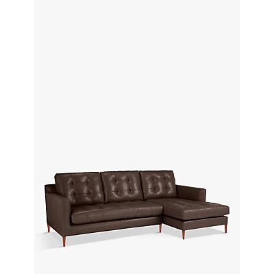 John Lewis Draper Leather RHF Chaise End Sofa, Dark Leg