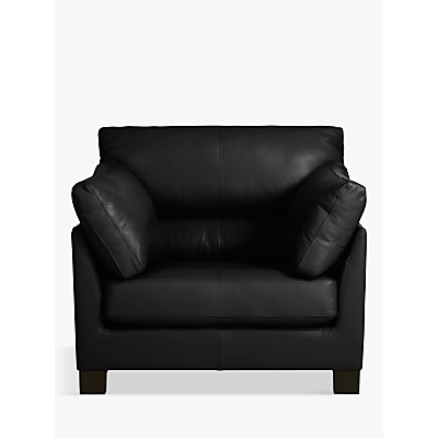 John Lewis Ikon High Back Leather Armchair, Dark Leg