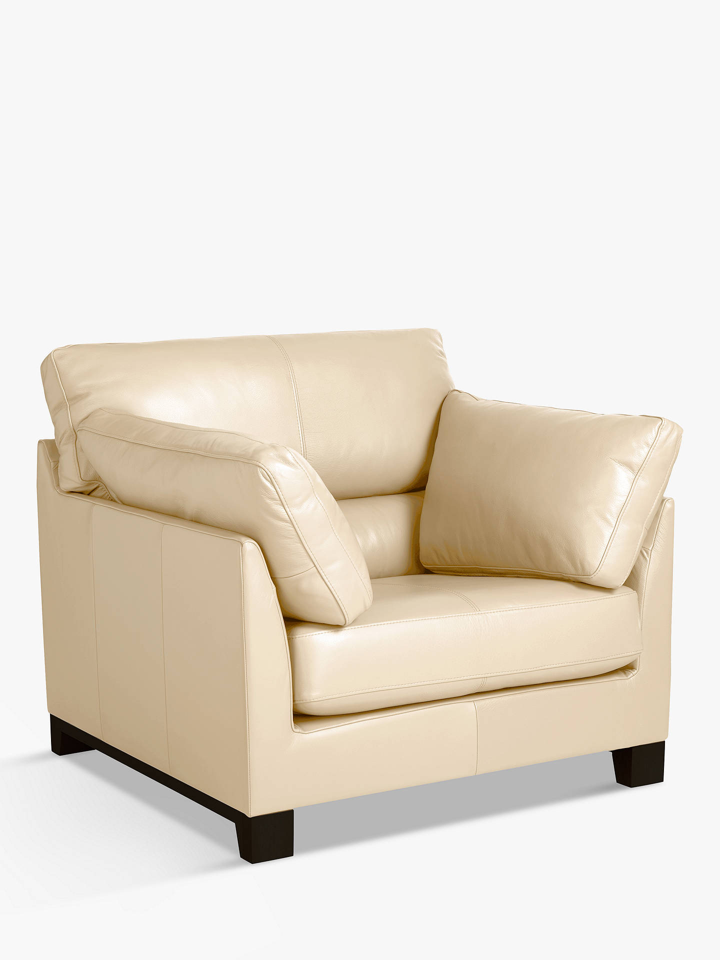 Buy John Lewis & Partners Ikon High Back Leather Armchair, Dark Leg, Contempo Ivory Online at johnlewis.com