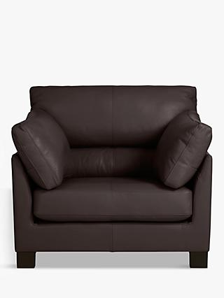 John Lewis & Partners Ikon High Back Leather Armchair, Dark Leg