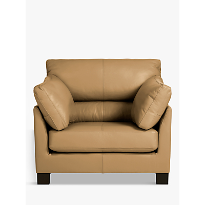 John Lewis Ikon High Back Leather Armchair, Dark Leg