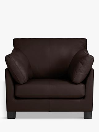 John Lewis & Partners Ikon Leather Armchair, Dark Leg