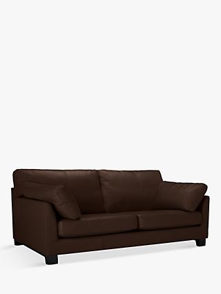 John Lewis & Partners Ikon Grand 4 Seater Leather Sofa, Dark Leg