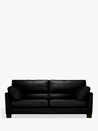 John Lewis & Partners Ikon High Back Grand 4 Seater Leather Sofa, Dark Leg
