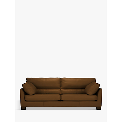 John Lewis Ikon High Back Large 3 Seater Leather Sofa, Dark Leg