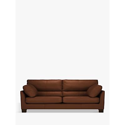 John Lewis Ikon High Back Large 3 Seater Leather Sofa, Dark Leg