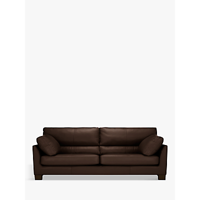 John Lewis & Partners Ikon High Back Large 3 Seater Leather Sofa, Dark Leg