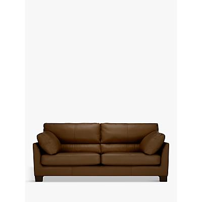 John Lewis Ikon High Back Grand 4 Seater Leather Sofa, Dark Leg