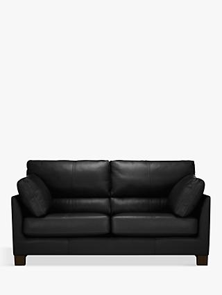 John Lewis & Partners Ikon High Back Medium 2 Seater Leather Sofa, Dark Leg