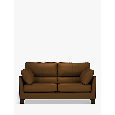 John Lewis & Partners Ikon High Back Medium 2 Seater Leather Sofa, Dark Leg