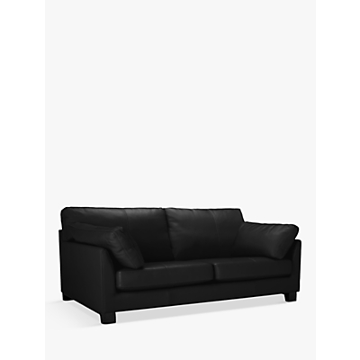 John Lewis Ikon Large 3 Seater Leather Sofa, Dark Leg
