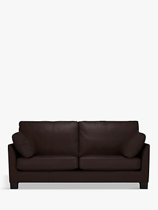 John Lewis & Partners Ikon Large 3 Seater Leather Sofa, Dark Leg