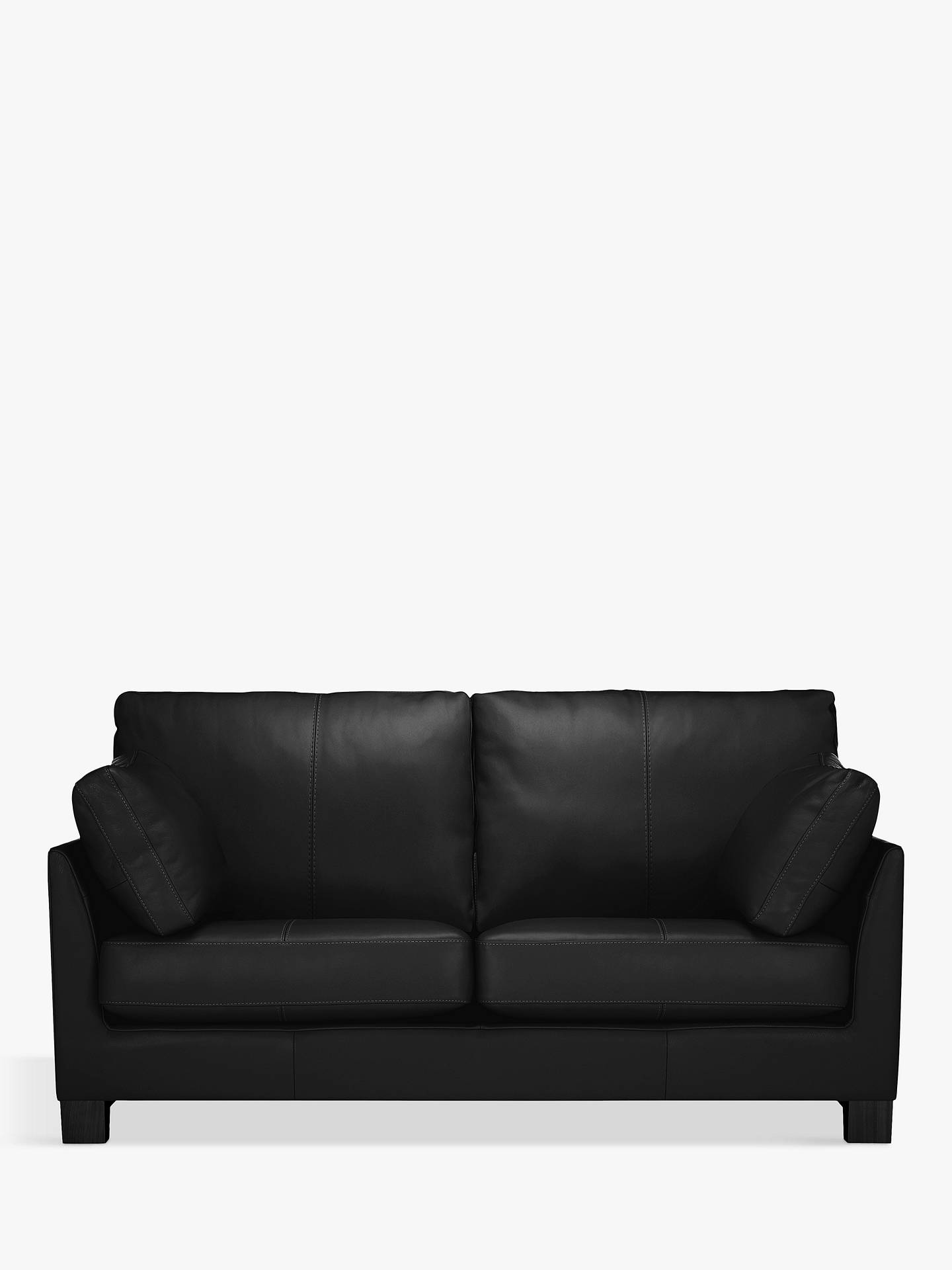 John Lewis & Partners Ikon Medium 2 Seater Leather Sofa, Dark Leg, Contempo  Black