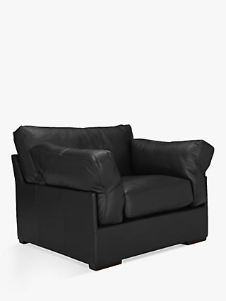 John Lewis & Partners Java Leather Armchair, Dark Leg