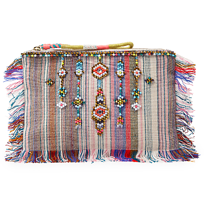 AND/OR Avalon Beaded Stripe Clutch Bag, Multi