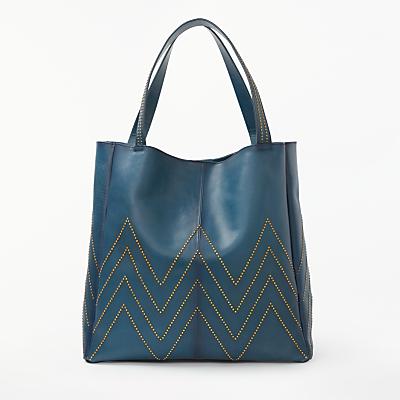 AND/OR Isabella Leather Stud Shoulder Tote Bag, Blue